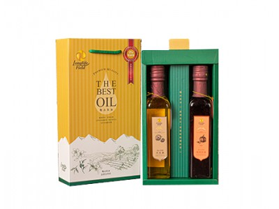 梅山茶油頂級二瓶組禮盒(苦茶油+南瓜籽油,250ml/2瓶/盒)