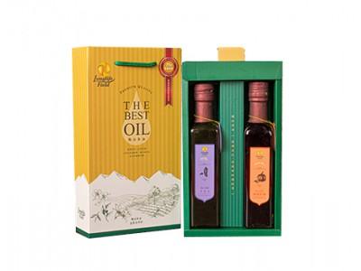 梅山茶油頂級二瓶組禮盒(南瓜籽油+黑麻油,250ml/2瓶/盒)